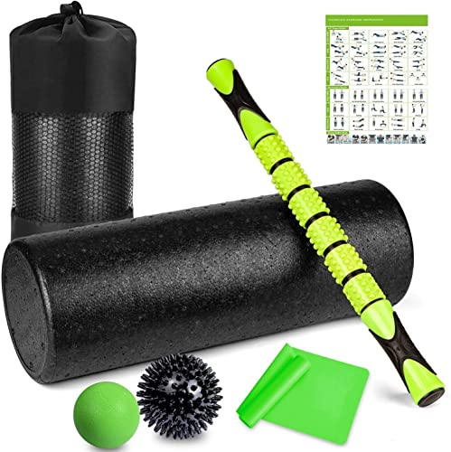 6 in 1 Premium Massage Foam Roller Kit 18 Large Foam Roller with Muscle Roller Stick 2 Massage Balls 1 Resistance Band for Physical Therapy Injury Prevention Stretching Yoga Trigger Point