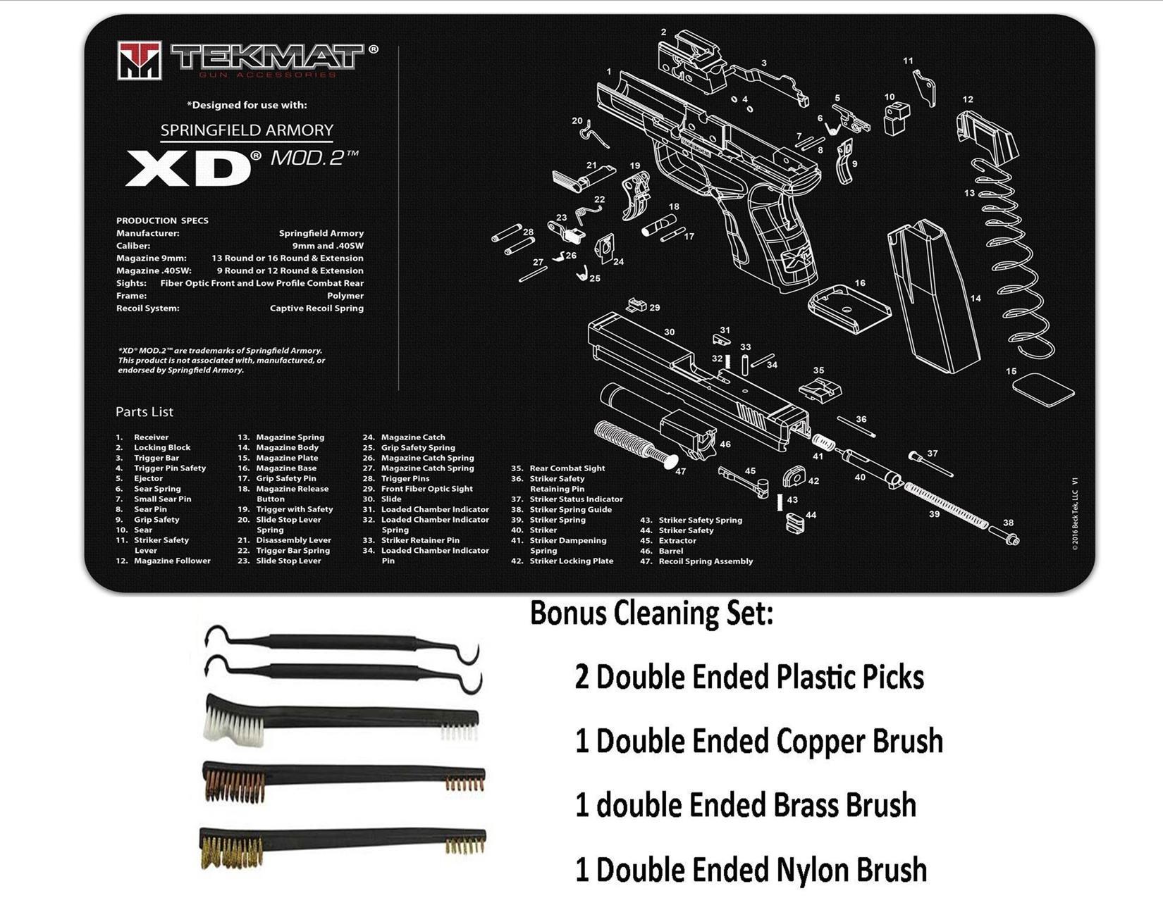 TekMat 11-Inch X 17-Inch Handgun Cleaning Mat with Springfield Armory XD Mod 2 Bonus 5 oc Gun Cleaning Brush & Pick Set