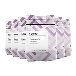 Amazon Brand - Solimo Epsom Salt Soaking Aid, Lavender Scented, 1.5 Pound (Pack of 6)