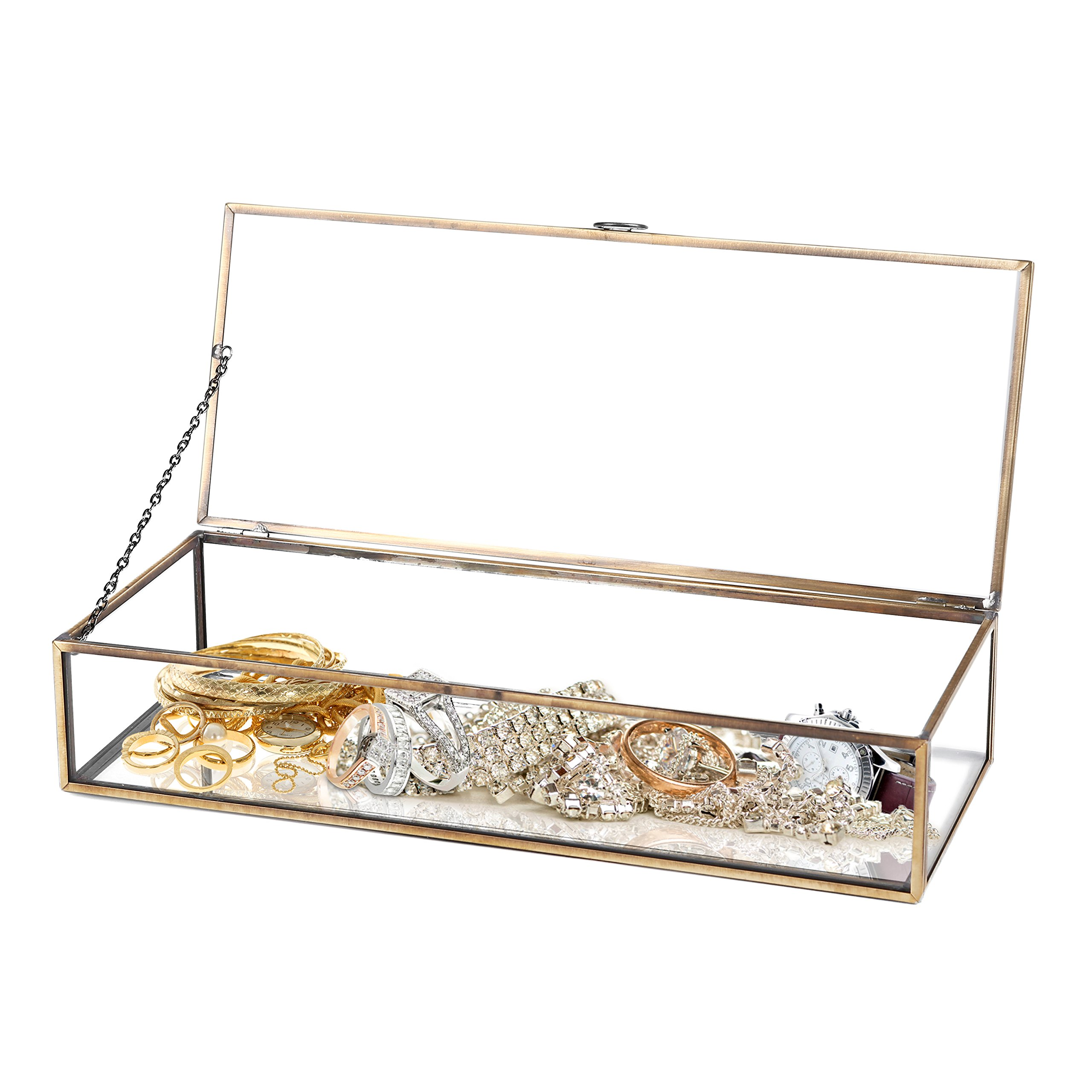 Vintage Style Brass Metal & Clear Glass Mirrored Shadow Box Jewelry Display Case w/Hinged Top Lid