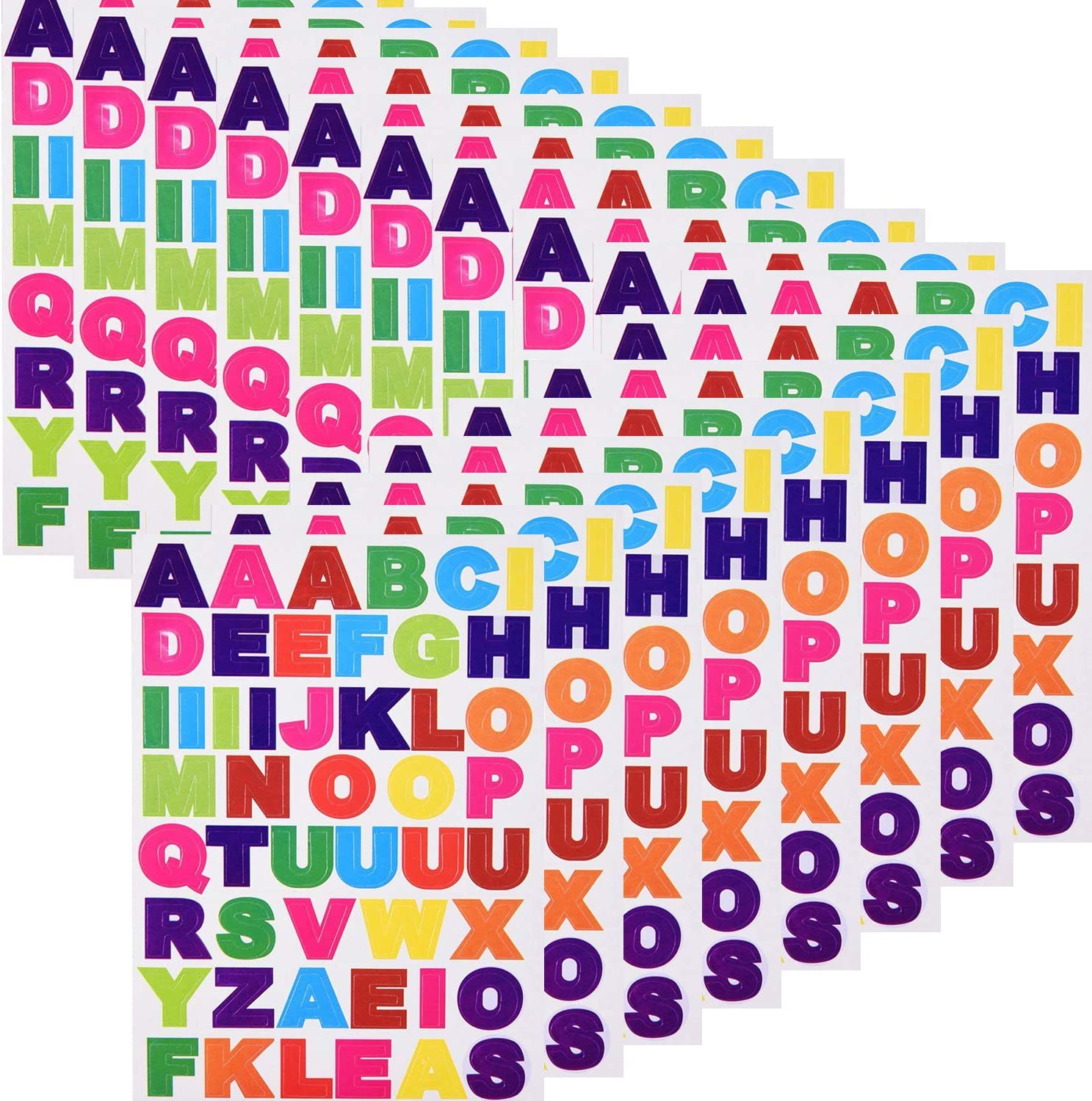 JAMEGIO 50 Sheets Colorful Letter Stickers Cardstock Stickers Alphabet Stickers Self Adhesive Letter Stickers,A to Z