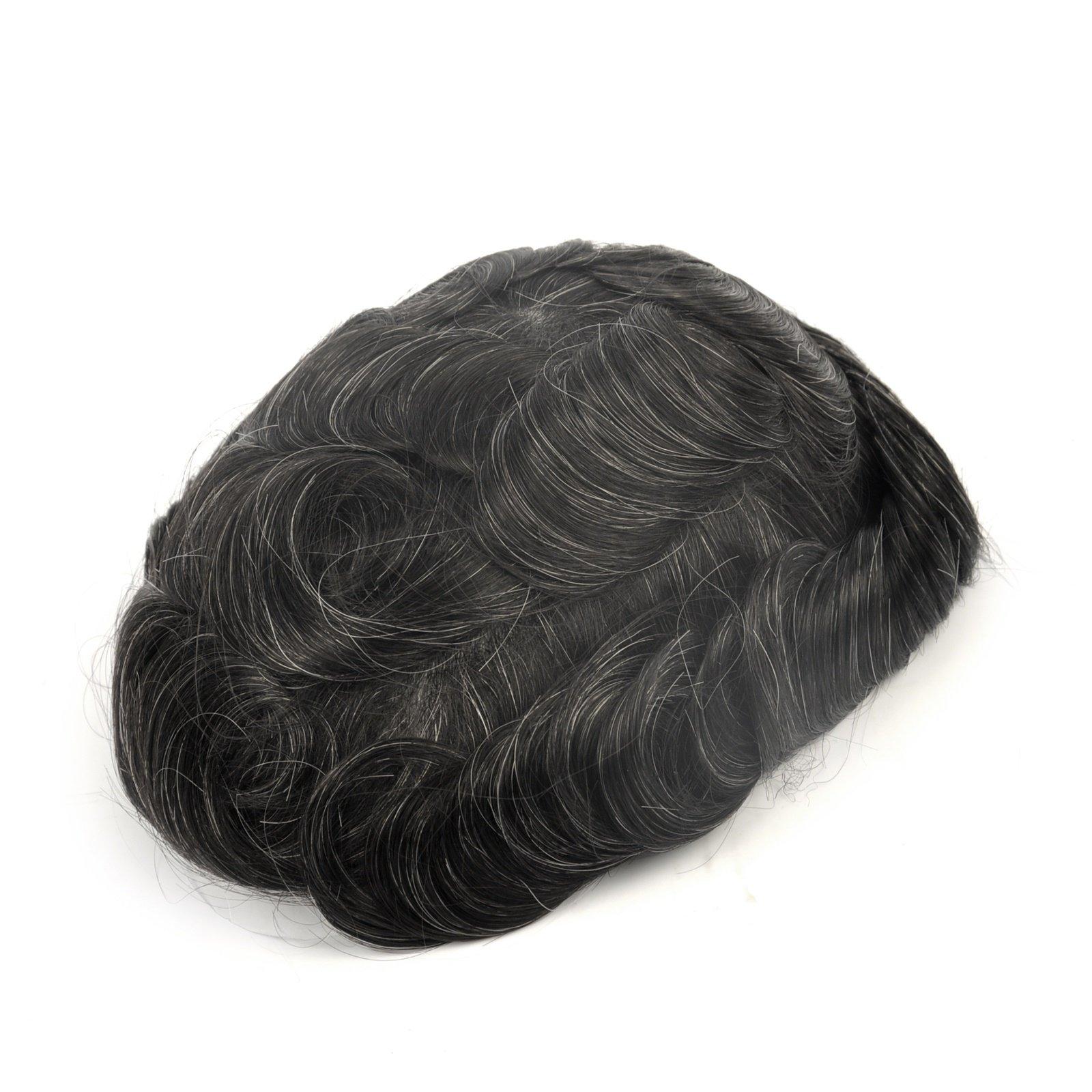 GEX 63Colors Men's HairPiece Toupee Medium Density Wig Human Hair Replacement Systems Vivid Men's Toupee Bella Basement (1B20#)