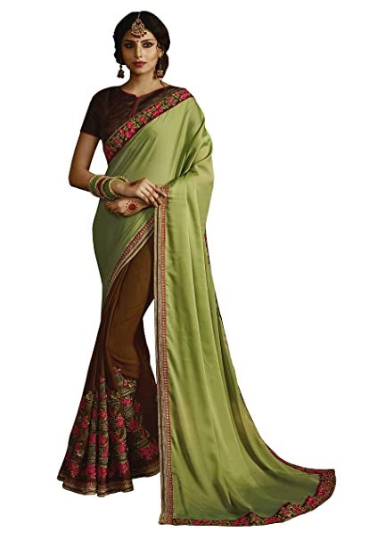 0ccb16f5c08228 Hopzgroup Olive Green And Saddle Brown Color Georgette And Slub Silk Fabric Heavy  Embroidery Work With
