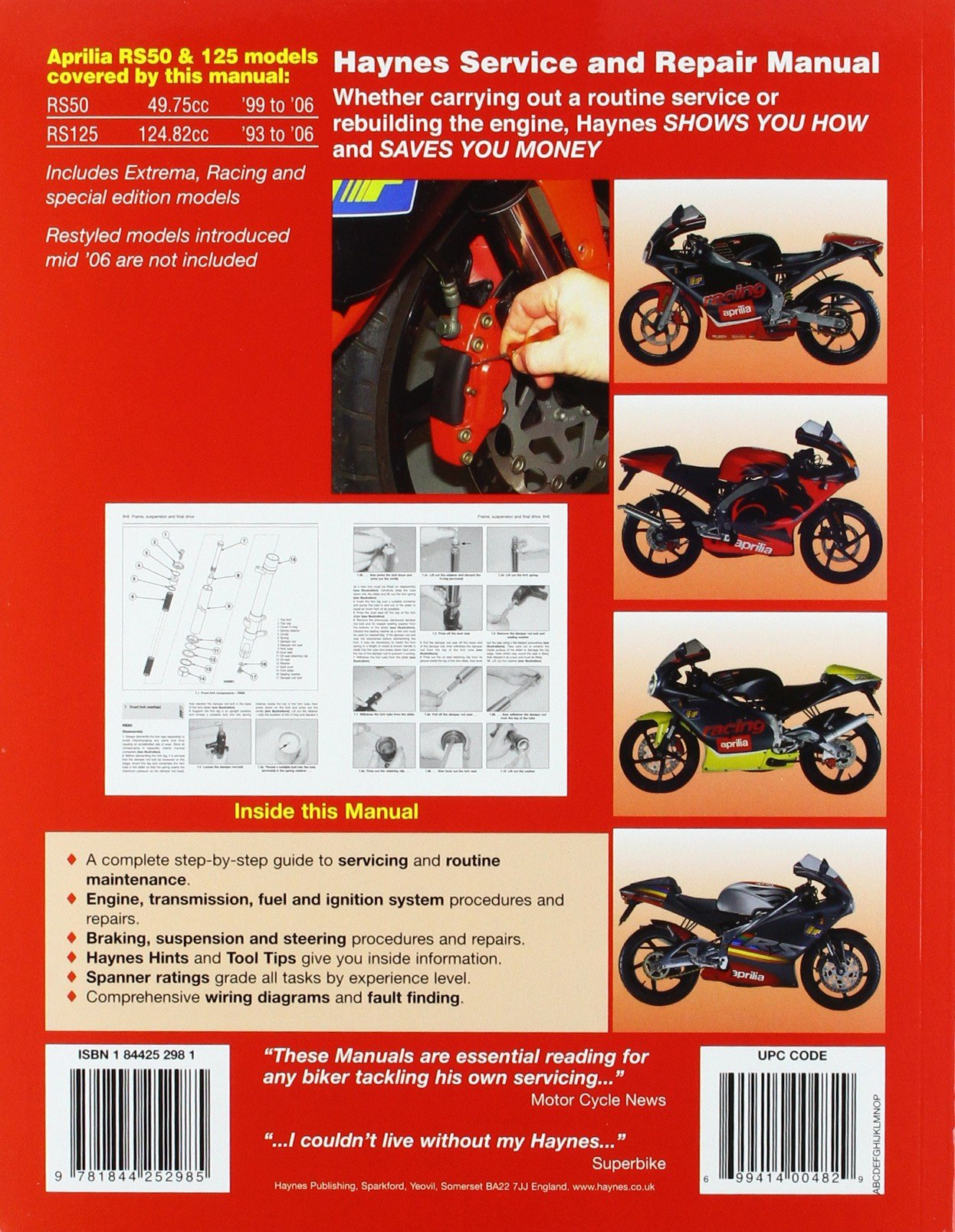 Aprilia Rs50 1999 2006 Rs125 1993 To Haynes Engine Diagrams Service And Repair Manuals Anon 9781844252985 Books