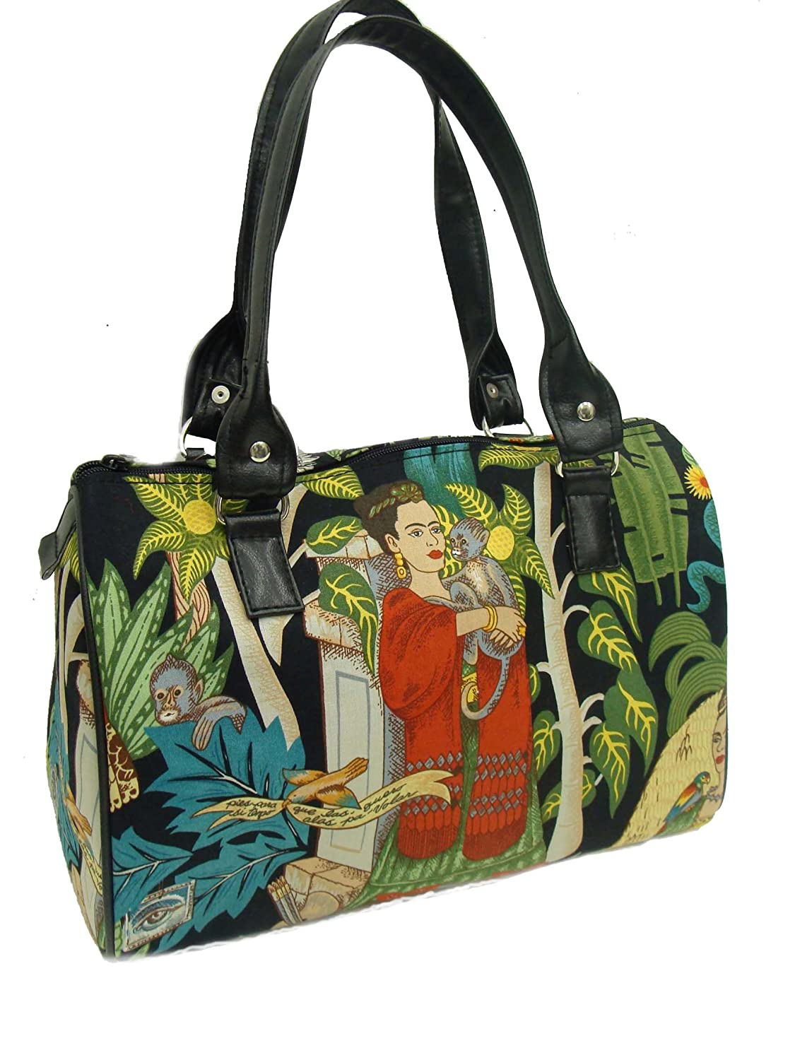 US Handmade Fashion Frida With Monkey Latino Artist Latino Cultural Doctor Bag Satchel Style Handbag Purse Cotton fabric, DRB1511-1