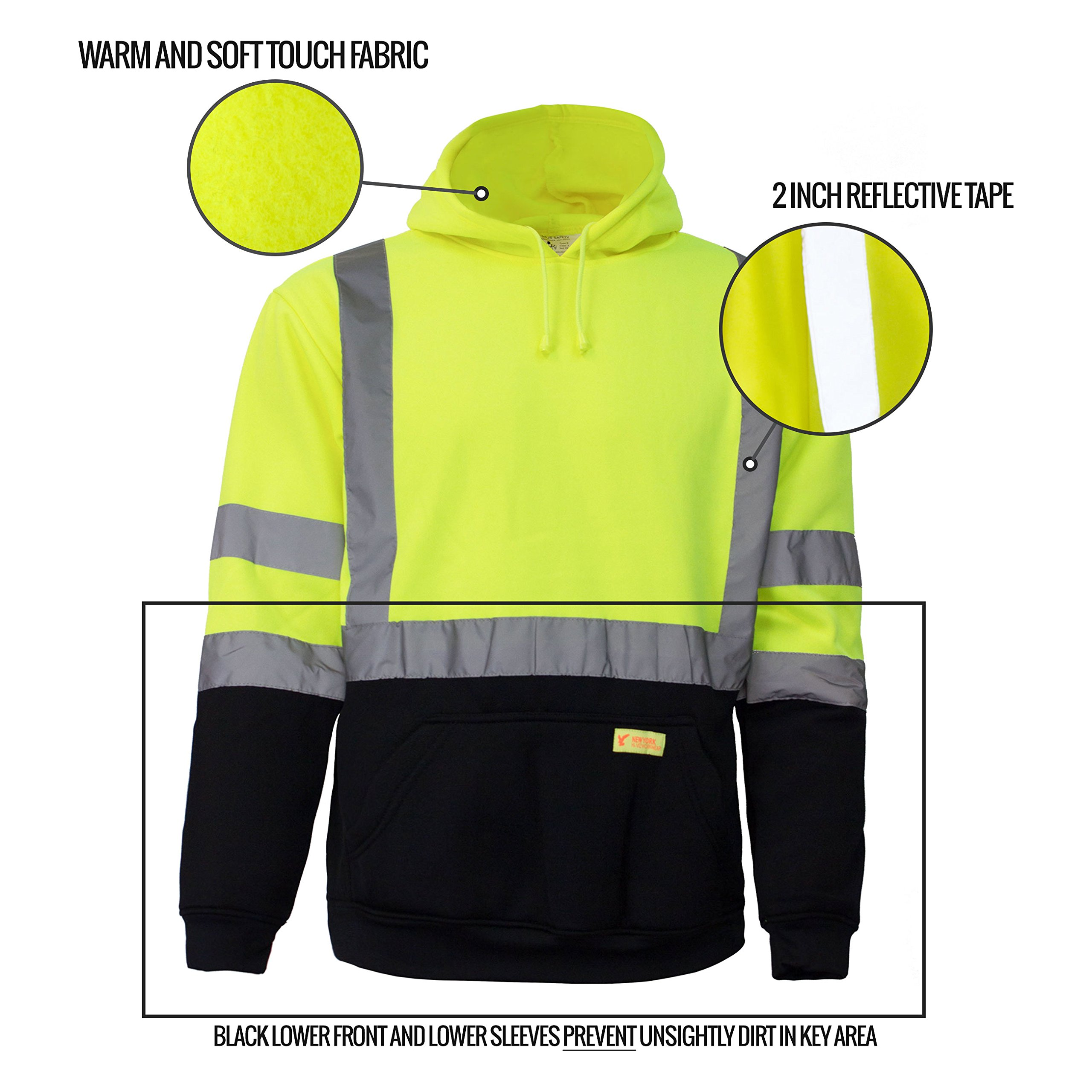 New York Hi-Viz Workwear H8312 Men's ANSI Class 3 High Visibility Class 3 Sweatshirt, Hooded Pullover, Knit Lining, Black Bottom (Lime, Large) by New York Hi-Viz Workwear (Image #6)