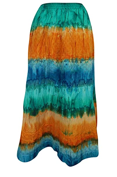b8abe518c6 Image Unavailable. Image not available for. Color: Women's Tie Dye Cotton  Maxi Flared Boho Chic Skirt S/M Green, Orange