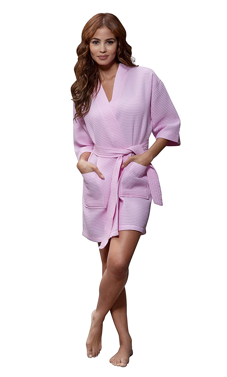 260d85517f Turquaz Linen Lightweight Knee Length Waffle Kimono Bridesmaids Spa Robe   Amazon.ca  Clothing   Accessories