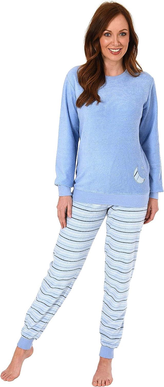 Hose gestreift Top mit Mond und Stern Applikation RELAX by Normann Damen Frottee Pyjama mit B/ündchen