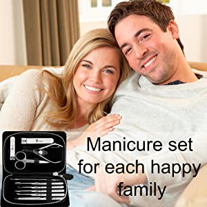 Manicure Set for Men - Pedicure Kit for Women - Manicure Kit stainless steel - Pedicure Tools with a leather case - Professional pedicure set - Manicure Tools Black