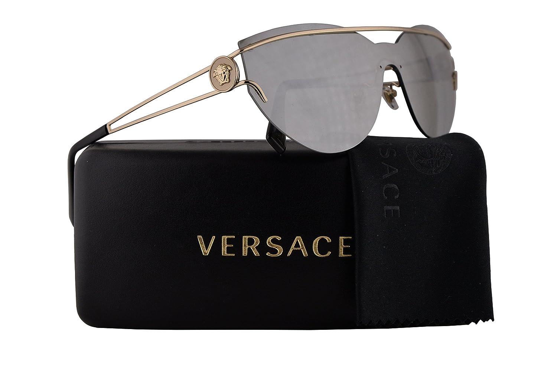 8d7a33dd6483 Amazon.com  Versace VE2186 Sunglasses Pale Gold w Light Grey Mirror Silver  Lens 38mm 12526G VE 2186  Clothing