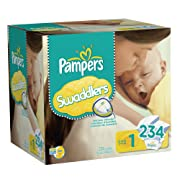Pampers Swaddlers Disposable Diapers Newborn Size 1 (8-14 lb), 234 Count, ECONOMY PACK PLUS