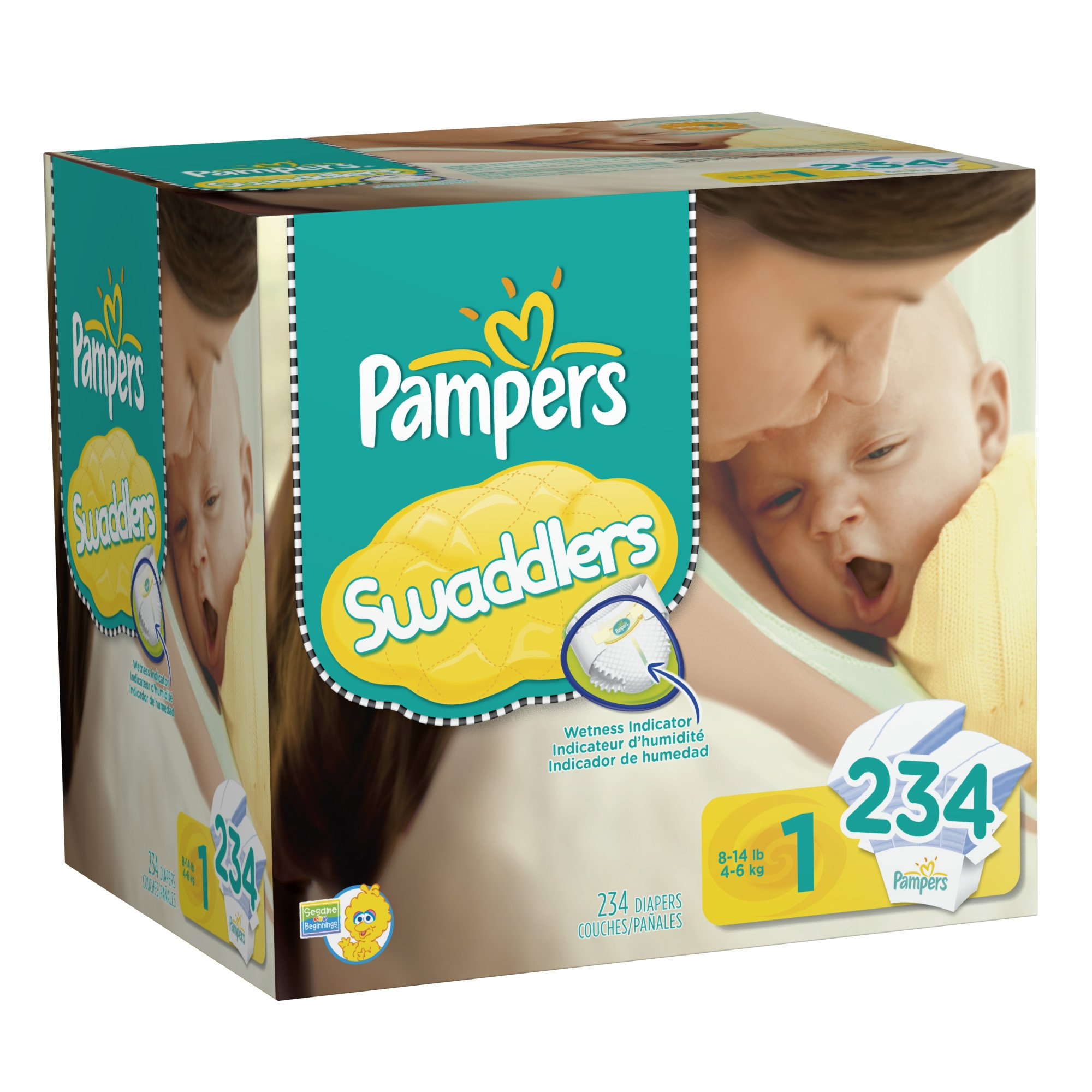 Pampers Swaddlers Disposable Diapers Newborn Size 1 (8-14 lb), 234 Count
