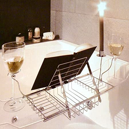 Expandable Chrome Bath Rack Organiser Overbath Tidy: Amazon.co.uk ...