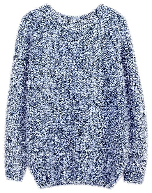 0f210e783ec4db Fuxiang Pullover Mohair Winterpulli Damen Frauen Warme Pullis Rundhals  Longpullover Oversize Schöne Kuschelpullover Mantel Sweatshirt Sweaters