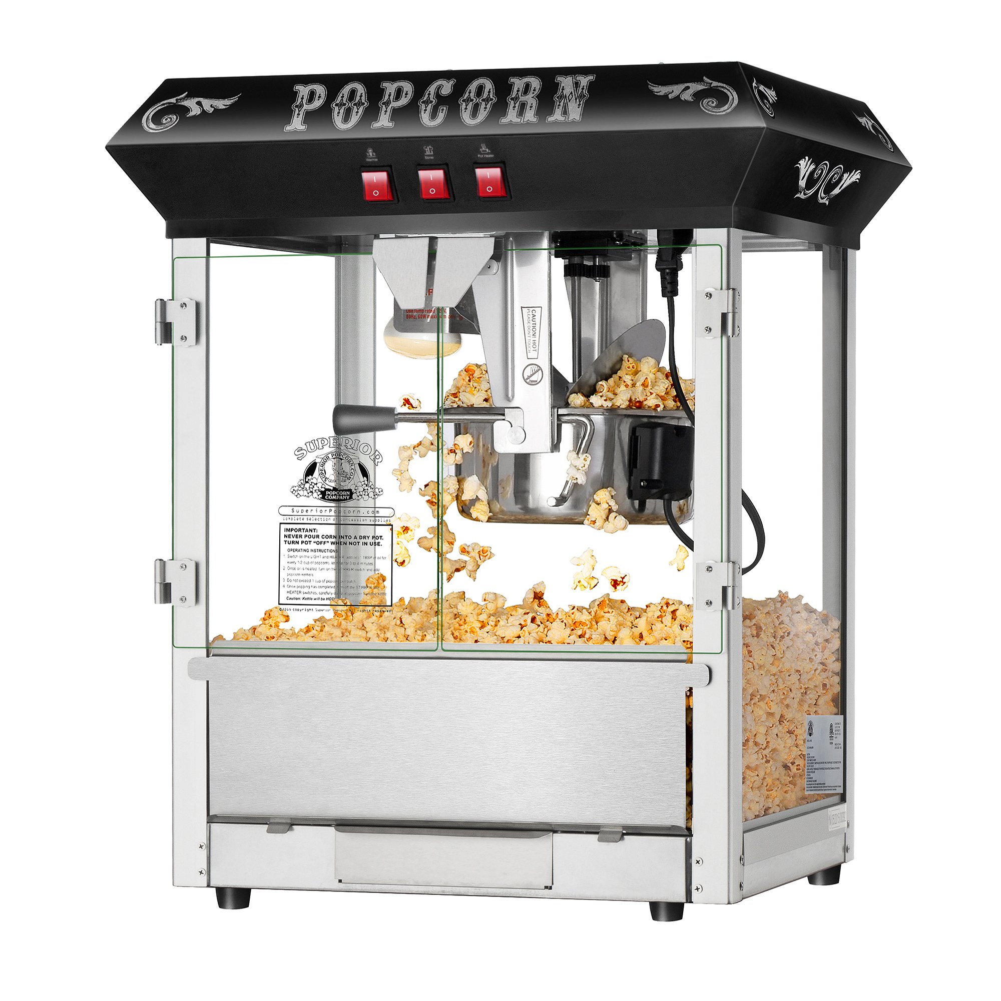 Hot and Fresh Countertop Style Popcorn Popper Machine-Makes Approx. 3 Gallons Per Batch- by Superior Popcorn Company- (8 oz., Black) by Superior Popcorn Company