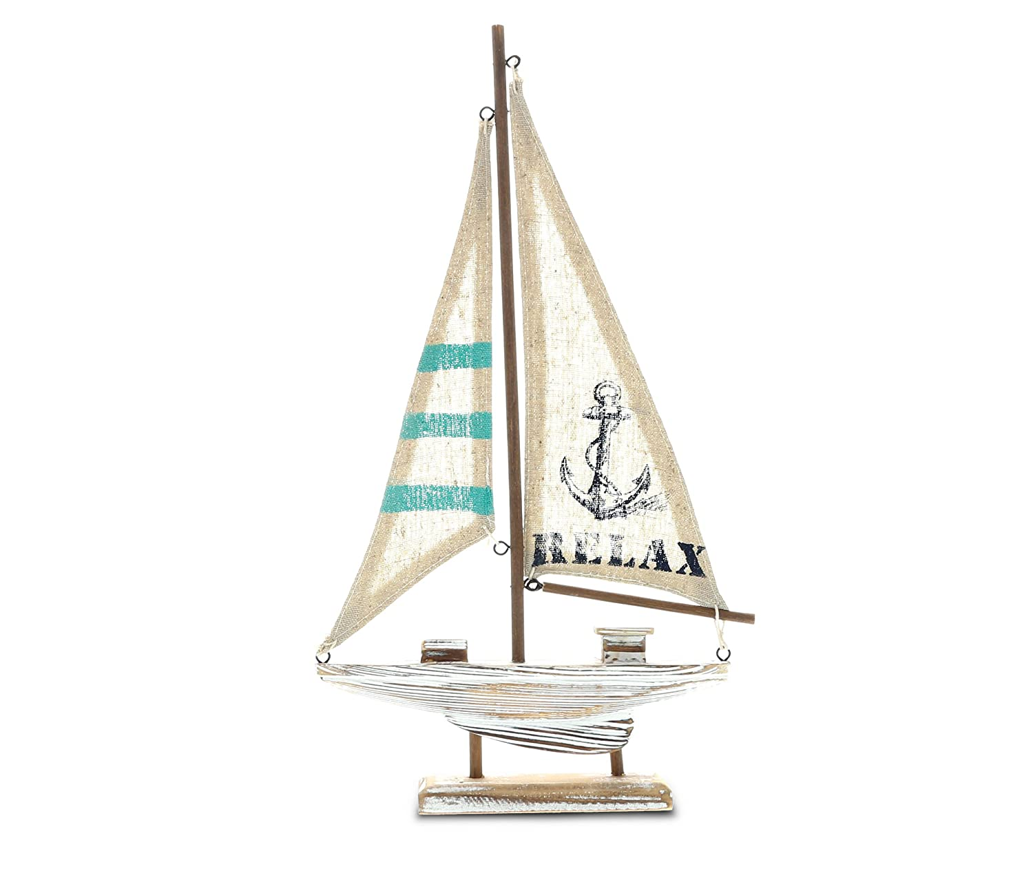 "CoTa Global Nautical ""Aquarius Sailboat"" Intricate Art Decorative Wooden Coastal Boat Themed Tabletop Décor Handcrafted Hand Painted Wood Home Accent Kitchen Decoration Unique Gift Souvenir"