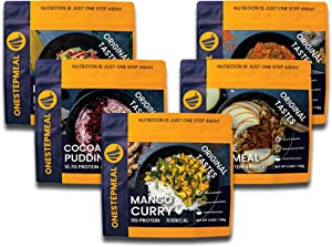 ONESTEPMEAL Vegetarian Backpacking Meals Combo Pack | 5 Freeze Dried Camping Food Pouches | Survival Emergency Food Supply