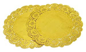 100 Pcs 12 Inch Round Lace Gold Paper Doilies Gold Foil Paper Placemats Doily Paper Pad for Cakes Crafts Party Weddings Tableware Décor