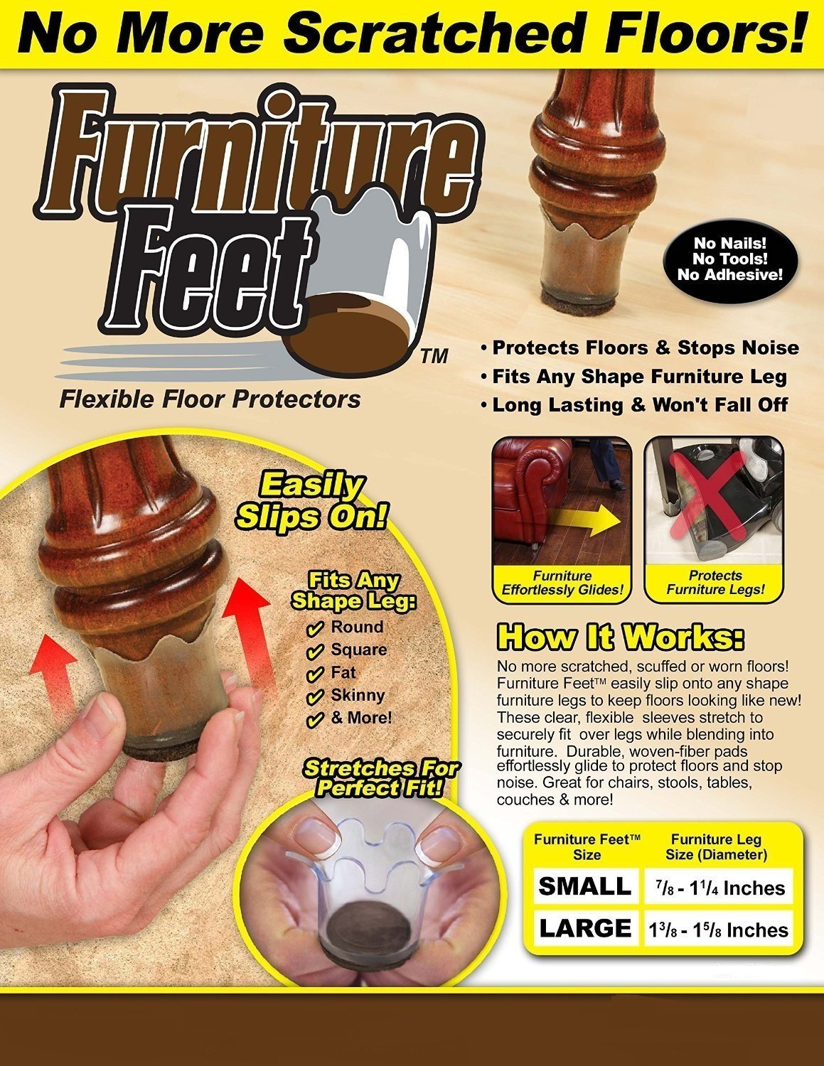 Ferryman Furniture Feet Flexible Floor Protectors - 16pc Value Pack (Small, Fits Legs 7/8''-1 1/4'')
