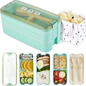 AZAWA Bento Lunch Box 1100ml/38oz, 3-Layer Bento Box with Spoon & Fork for Kids Adult & Office Worker, BPA-Free Wheat Fiber Lunch Box Leak-Proof Food Containers with Bonus Lunch Bag (Green)