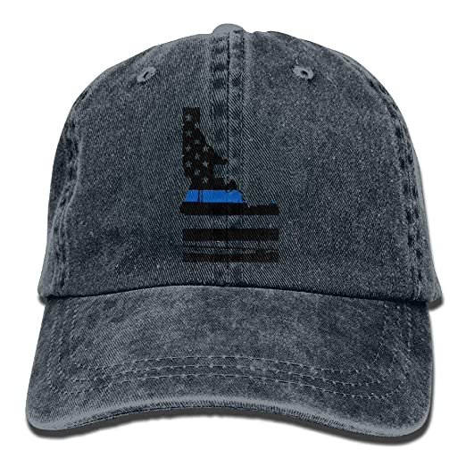 1a44d5ce1ef Amazon.com  HATS NEW Men Women Idaho Tattered Flag Blue Line Map ...
