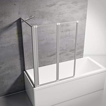 Schulte Pare Baignoire Rabattable A Coller Avec Paroi Laterale 2 Volets Pivotants Verre Transparent Profile Alu Nature 87x75x120 Cm