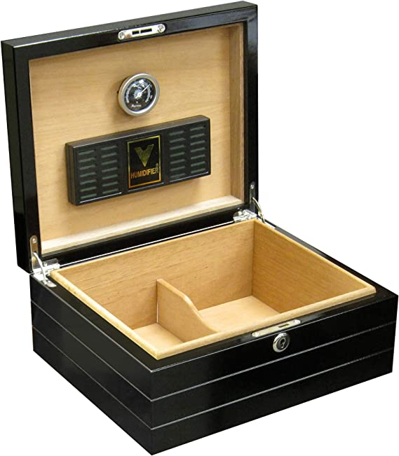 Prestige Import Group - Onyx Lacquer High Gloss Black Cigar Humidor