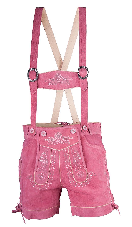 Damen Trachten Lederhose Almfranzi pink Marke Achim Klein