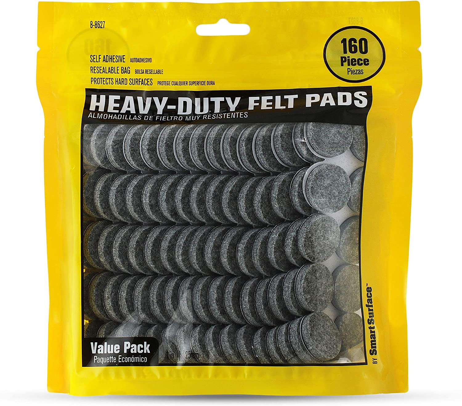 Smart Surface 8627 Heavy Duty Self Adhesive Furniture Felt Pads 1-Inch Round Gray 160-Piece Value Pack in Resealable Bag