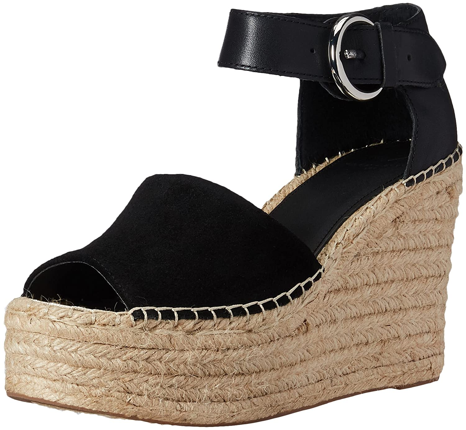 Black Suede Marc Fisher Ltd Womens Alida Espadrille Wedge