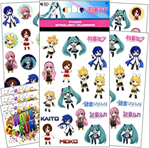Stickers for Kids - 4 Sheets of Stickers Bundle Includes 3 Specialty Separately Licensed GWW Reward Stickers (Hatsune Miku)
