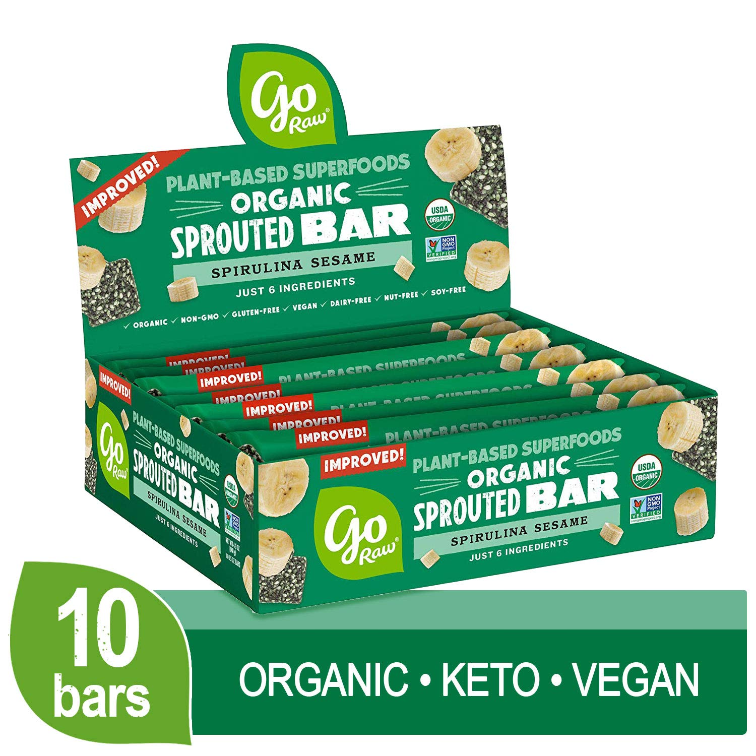 Go Raw Seed Bars, Spirulina Sesame | Keto | Gluten Free Snacks | Vegan | Organic | Paleo | Superfood (10 Bars)