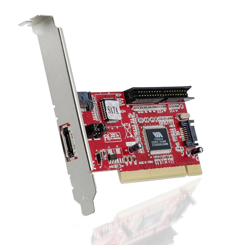 CSL - Tarjeta de Controlador PCI | 2X SATA | 1x IDE | 1x eSATA | Raid: Level 0, 1, JBOD | Juego de Chips Via