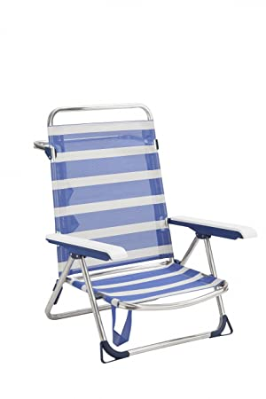 Alco 6075ALF-1556 Silla/Cama Playa fibreline, 2x1, bicomponente Rayas Azules Y Blancas 70x64x15.5 cm: Amazon.es: Jardín