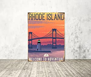 Diuangfoong Rhode Island Traveler Sign Metal Sign Welcome Metal Sign Vintage Sign Metal Wall Decor City Print on Metal Home Decor Sign Door Sign - 12×16 inches