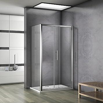 Porte de douche 100x90x185cm cabine de douche porte coulissante avec ...