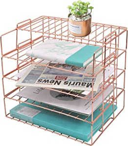 EASEPRES Rose Gold Letter Tray - 4 Tier Desk Organizer for Women, Stackable Paper Tray Organizer, File Organizer for Home Office Supplies, Desk Accessories