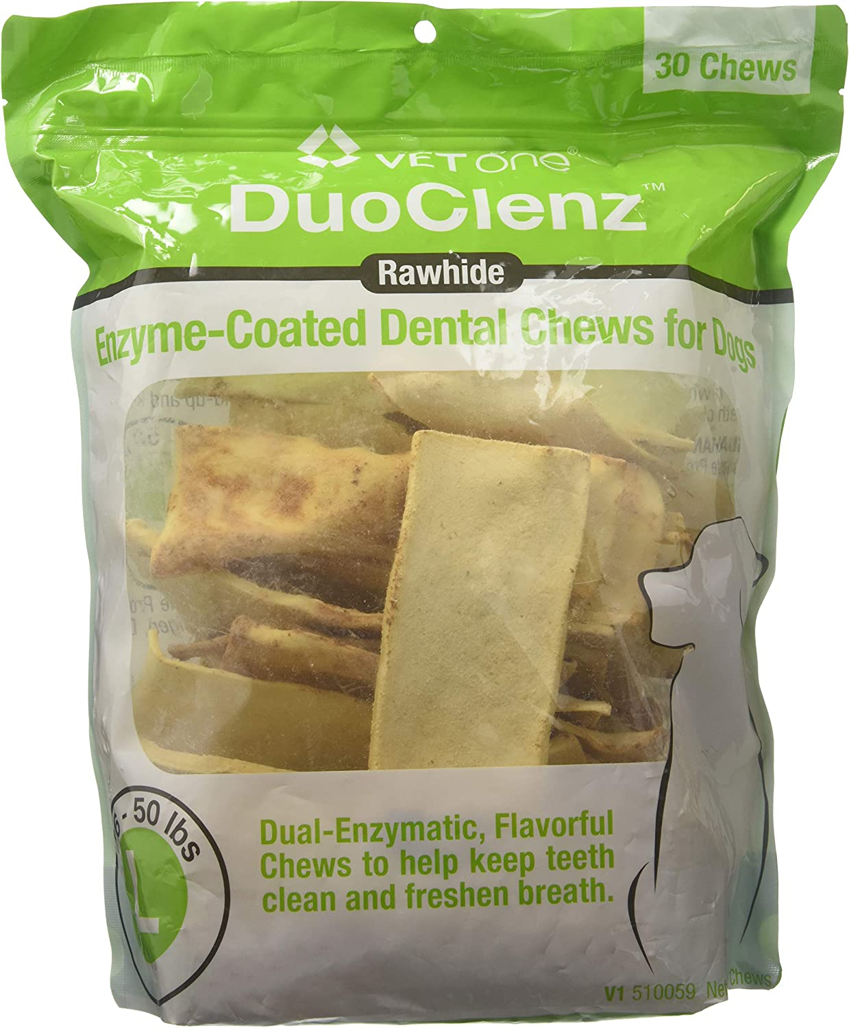 VetOne DuoClenz Enzyme Coated Dog Dental Chews for Large Dogs - Veterinarian Formulated - 30 Count