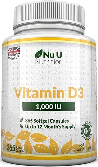 Integratore di vitamina d3 1000ui 365 capsule softgel (scorta per 1 anno) nuu-VitD1000IU-365-UK