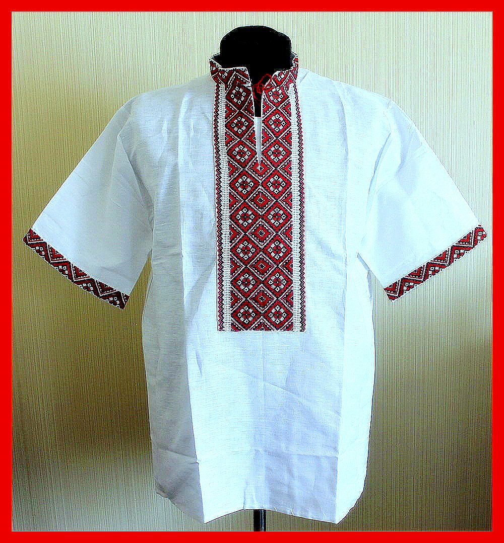VYSHYVANKA メンズ ウクライナ刺繍シャツ ハンドメイド ホイール リネン 半袖3XL B074DYHT94