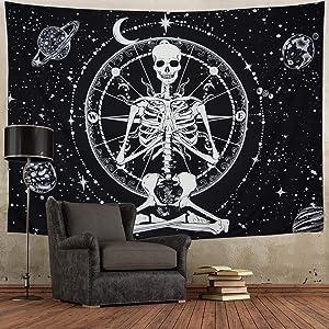 Amonercvita Starry Skull Tapestry Moon Planet Chakra Tapestry Yoga Meditation Skeleton Tapestry Black and White Stars Tapestry for Room (Medium, Starry Skull)