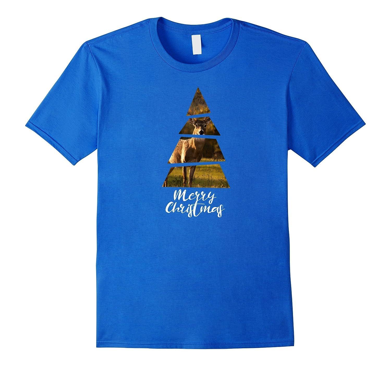 Novelty Christmas Deer T-shirt - Christmas Tree Shape-ANZ