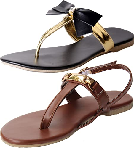 b6e3974c822c3 Combo Pack of Two Sandals |Ladies Sandal |Black Sandal | Black |Women Flats  | Ladies Slippers |Girls Slippers | Gold | Flats