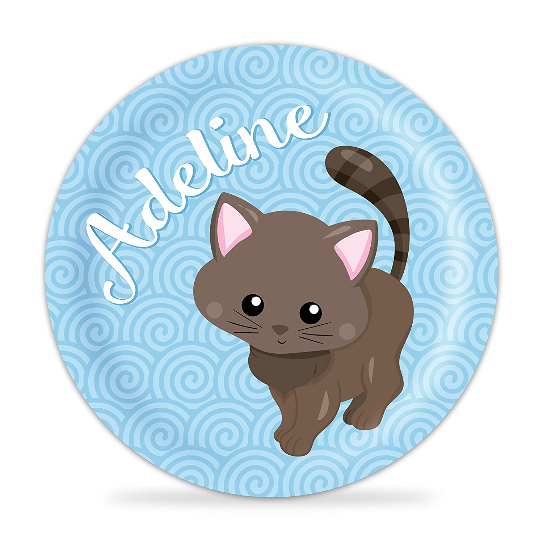 Blue Cat Melamine Personalized Plate Kitten Plate