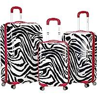 Rockland Safari Hardside Spinner Wheel Luggage, Pink Zebra, 3-Piece Set (20/24/28)