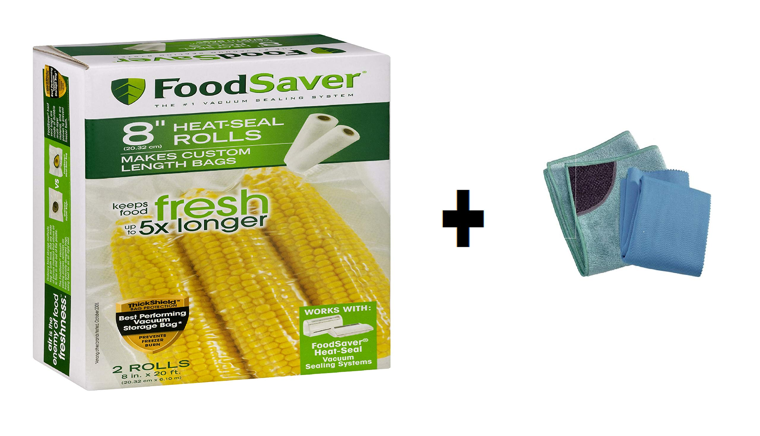 FoodSaver 8'' x 20' Vacuum Seal Rolls, 2 Pack with Free Kitchen Cleaning Cloths Pack of 2