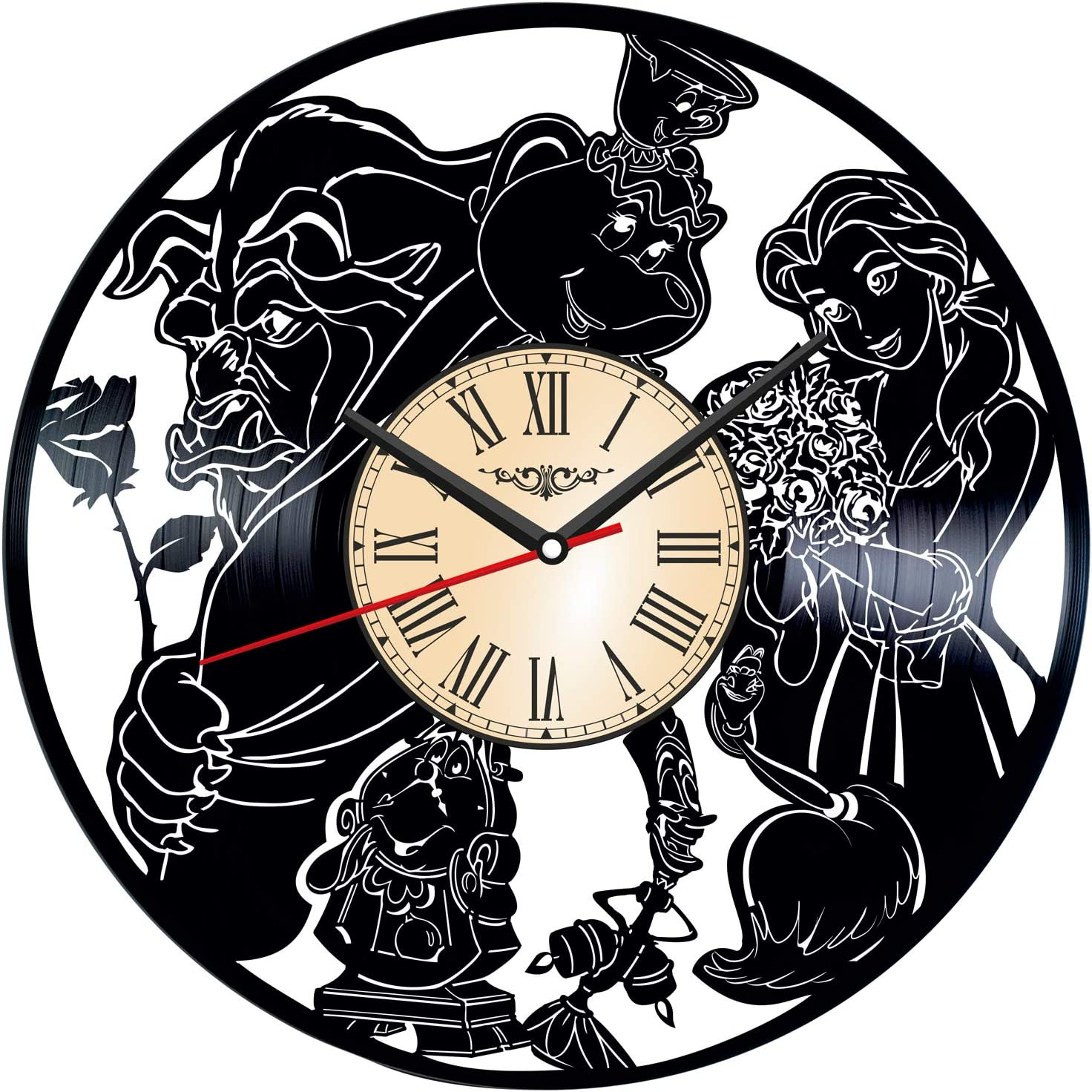 Beauty and The Beast Vinyl Wall Art Clock - Home Decor for Him Her Birthday Christmas Anniversary - Themed Clock for Cartoon Lovers Fans - Kids Living Room Kitchen Wall Art - 12 Inches