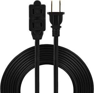 GE 15, Black, 45154 6 Ft Extension Cord, 3 Power Strip, 2 Prong, 16 Gauge, Twist-to-Close Safety Outlet Covers, Indoor Rated, Perfect for Home, Office or Kitchen, UL Listed