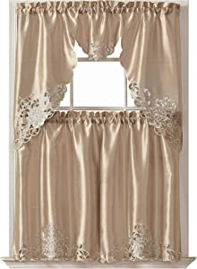 GOHD Golden Ocean Home Decor Passionate Bloom Kitchen Curtain Set Swag Valance and Tier Set. Nice Embroidery on Faux Silk Fabric with cutworks. (Mocha)